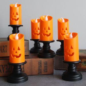 6 Stk LED Halloween Kürbis Teelichter Kerzen, für Party Home Nachbildung