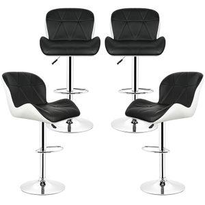 Barhocker 4er Set - Barsessel mit Fußablage Tresenhocker Stuhl Küchenhocker,Höhenverstellbar,360°drehbar