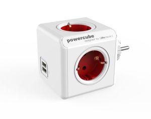 allocacoc PowerCube Original DuoUSB Rot, Steckdosenwürfel und USB Ladegerät
