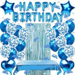 VADOOLL geburtstagsdeko blau,Geburtstag Dekoration Set,Happy Birthday Girlande Banner,konfetti Ballons blau, Luftballon Blau Geburtstag Dekoration,Geburtstagsdeko Blau Jungen,Happy Birthday deko