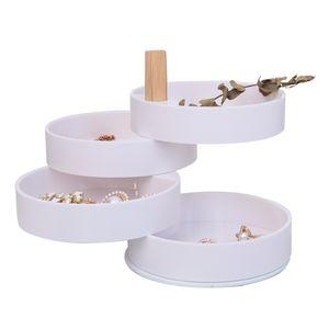 4-Tier Runde Schmuckständer Schmuck Anzeige Schmuck Behalter - Weiß