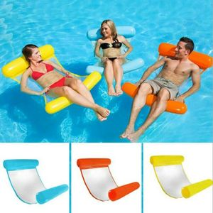 Aufblasbare Schwimmende Wasser Hängematte Pool Bett Schwim Stuhl Schwimmdock 120*75cm Blau