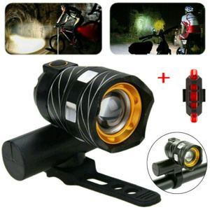 USB Wiederaufladbare Fahrradlampe LED Fahrrad Licht Beleuchtung MTB Scheinwerfer + Rücklicht set