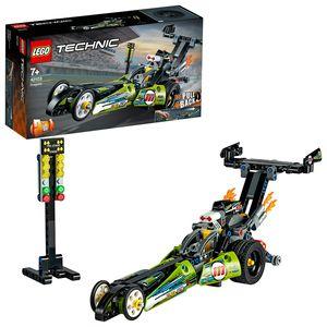 LEGO 42103 Technic Dragster Rennauto oder Hot Road, 2-in-1 Set mit Rückziehmotor, Dragster-Rennfahrzeuge-Sammlung