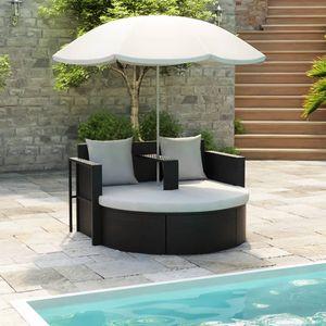 Gartenbett Liege Gartensofa Sofa Lounge mit Sonnenschirm Schwarz Poly Rattan