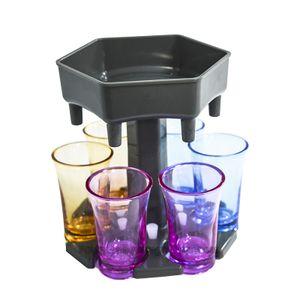 Schnapsglas-Spender(grau) + 6 Tasse + 6 Silikonstopfen, Weincocktail-Schnellfüllwerkzeug, tragbarer Getränkespender, Party-Bar-Zubehör
