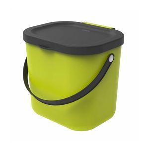 Rotho Albula Biomülleimer 6l mit Deckel und Henkel für die Küche, Kunststoff (PP) BPA-frei, hellgrün/anthrazit, 6l (23.5 x 20.0 x 20.8 cm)