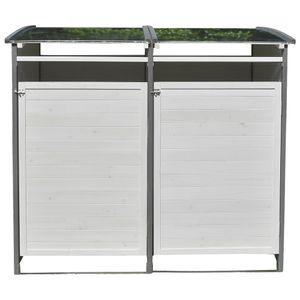 Melko Mülltonnenbox Mülltonnenverkleidung Doppelbox 240 Liter mit Rückwand ???
