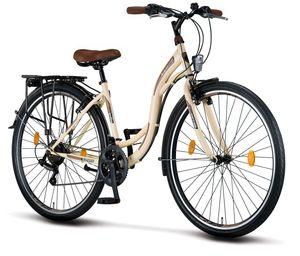 Licorne Bike Stella Premium City Bike in 24, 26 und 28 Zoll - Fahrrad für Mädchen, Jungen, Herren und Damen - Shimano 21 Gang-Schaltung - Hollandfahrrad , Farbe:Beige, Zoll:28