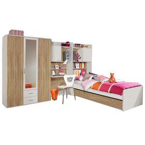 Kinder- und Jugendzimmer 4-tlg B 317 cm Weiß / Eiche-Sonoma Jugendzimmer Kleiderschrank Schreibtischregal + Regal inkl Bettkasten Bett
