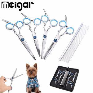 Edelstahl Hunde Fellschere Haarschere Set mit Katze Schneiden Grooming Kit DE