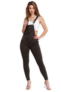 Damen Skinny Latzjeans Stretch Latzhose Slim Fit Overall Denim Hose, Farben:Schwarz, Größe:36