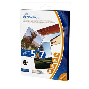 MediaRange - Hochglänzend - weiß - 130 x 180 mm - 220 g/m² - 50 Blatt Fotopapier