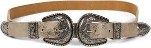 styleBREAKER Gürtel mit doppelter verzierter Schnalle im Western Style, B-Low Belt, Taillengürtel, kürzbar, Damen 03010085, Farbe:Antik-Gold, Größe:95cm