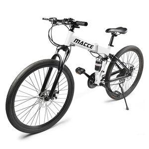 26-Zoll-Mountainbikes Mit Vollfederung 21-Gang-Faltrad rutschfest,Farbe: Weiß