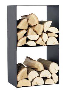 Kaminholzregal 2 Fächer Stahl schwarz Feuerholzständer handgefertigt N-BR-145