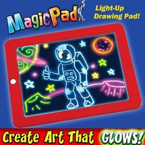 3pcs Mediashop Magic Pad |  Maltafel | 6 Neonfarben | Schablonen zum Ausmalen, Zeichnen, Schreiben | Schreibplatte |