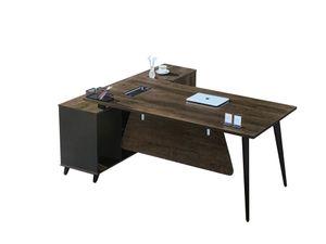 """Schreibtisch Eckschreibtisch Winkelschreibtisch """"San Paulo"""" 2m Büro Office Büroausstattung holzoptik rustikal robust linksseitig mit Sideboard teilweise abschließbar Nussbaum"""