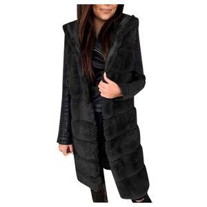 Damen Faux-Fur 'Gilet Weste Ärmellose Weste Body Warmer Jackenmantel Outwear Größe:S,Farbe:Schwarz