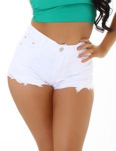 Hot Sommer High Waist Jeans Shorts mit Deko Häkelspitze, Farbe: Weiß, Größe: 36