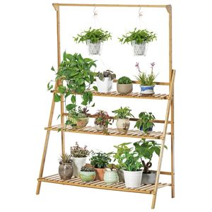 INSKER Pflanzenständer Blumenständer 100 cm Blumentreppe 3 Stufen Pflanzentreppe Blumenregal aus Holz Gartenregal