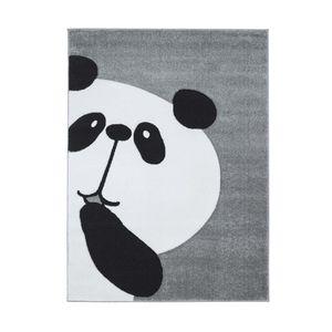 Kinderteppich Spielteppich Teppich Kinderzimmerteppich Hochwertig Panda-Bär in Pastell-Grau mit Konturenschnitt, Größe in cm:80 x 150 cm
