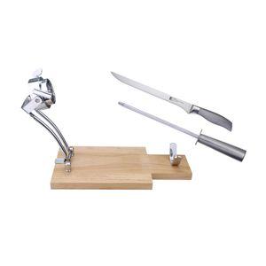 Schinkenhalter aus Holz und Edelstahl mit Schinkenmesser und Wetzstein