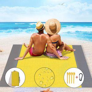 200 x 140 cm Picknickdecke Sanddichte Campingdecke Wasserdichte Strandmatte, Gelb + Doppelgrau
