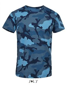Mens Camo / Tarn Herren T-Shirt - Farbe: Blue Camo - Größe: XXL