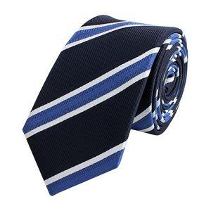 Schlips Krawatte Krawatten Binder Schmal 6cm Blau m. weißen Streifen Fabio Farini