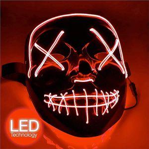 LED Grusel Maske rot - wie aus Purge mit 3X Lichteffekten, steuerbar, für Halloween als Kostüm für Herren & Damen