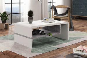 Design Couchtisch Folk Weiß matt - Beton Betonoptik Tisch Wohnzimmertisch 100x60x40cm mit Ablagefläche
