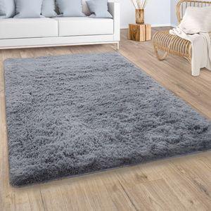 Hochflor Teppich Wohnzimmer Fellteppich Kunstfell Shaggy Flauschig Einfarbig Grau, Grösse:160x220 cm