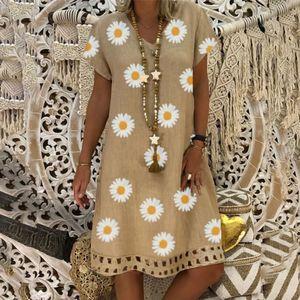 Frauen Sommerkleid Vintage Loose V-Ausschnitt Blumendruck Kurzarm Midi Kleid Größe:M,Farbe:Ocker
