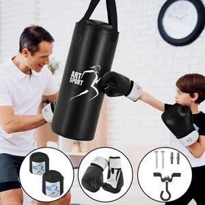 ArtSport Boxsack Set gefüllt – Kinder Boxset 10 kg mit Boxhandschuhen, Bandagen und Deckenhalterung - Sandsack Boxen und Kickboxen