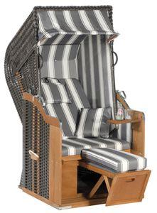 Rustikal Strandkorb 250 Plus 1-Sitzer, Halblieger Ostseeform, Geflecht anthrazit, Strukturpolyester gestreift, Fichtenholz lasiert, ca.95x90x160