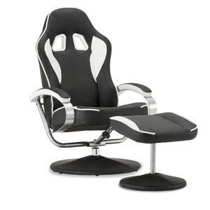 MCombo Racing Sessel Gaming Sessel Relaxsessel Fernsehsessel kippbar mit Hocker 9012BW