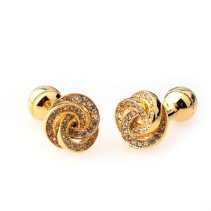 Mode Verkupferung Diamante Manschettenknöpfe Manschettenknöpfe Hochzeitsbevorzugungsgeschenk Gold