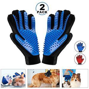 2PCS Pet Bürste Handschuh,Tierhaar Handschuh Fingerhandschuhe Bürste Haarentferner Fellpflegehandschuh Gummi für Hund Katze Fellpflege