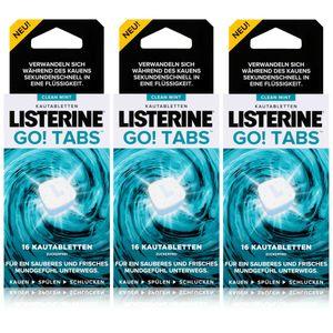 Listerine Go! Tabs 3 x 16 Kautabletten - Kauen, Spülen und Schlucken (3er Pack)