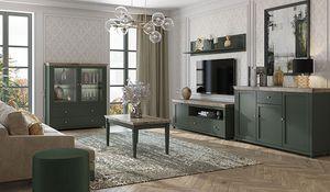 Wohnzimmer Set Wohnzimmergarnitur 5-teilig grün eiche lefkas Landhaus