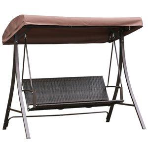 Angel Living Hollywoodschaukel Gartenschaukel 3 Sitzer mit Sonnenschutz (Braun)