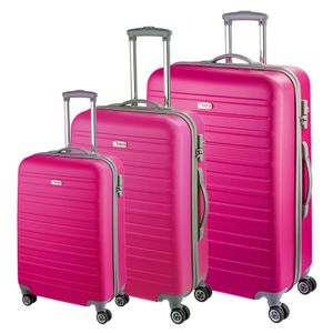 d&n Travel Line 9400 Kofferset 3-teilig  4 Rollen - Pink