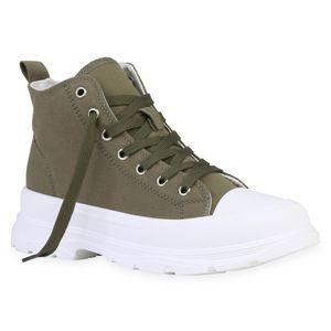 Giralin Damen Stiefeletten Schnürstiefeletten Schnürer Blockabsatz Schuhe 836213, Farbe: Olivgrün, Größe: 40