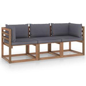 vidaXL Garten-Palettensofa 3-Sitzer mit Kissen Anthrazit Kiefernholz