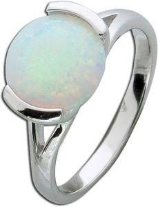 Opalring Silber 925 Solitär synth. Opal Schmuckring weiss blau 17