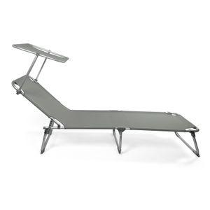 Luxus Sonnenliege Gartenliege Strandliege Aluminium mit Dach Liegestuhl Anthrazit