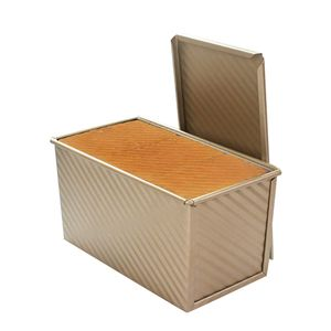 Für 450g Teig Toast Brot Backform Gebäck Kuchen Brotbackform Mold Backform mit Deckel(Gold-Rechteck-Welle)