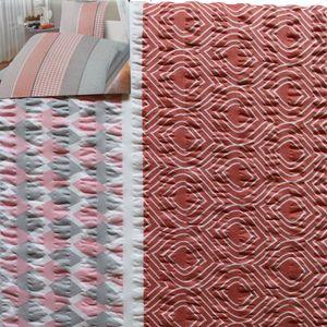 Seersucker Bettwäsche 155x220 +80x80cm Übergröße, terra grau rose weiss Streifen, bügelfrei, Microfaser