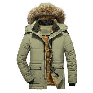 Warme, baumwollwattierte Herrenjacke in Übergröße einfarbige Jacke mit Kapuze langärmeliges Freizeitoberteil,Farbe: Khaki,Größe:3XL
